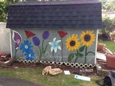Flowers Painted on Shed2 WM