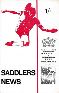 Walsall 3 Shrewsbury Town 2 in Nov 1969 at Fellows Park. The programme cover #Div3