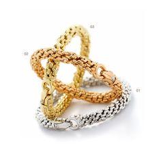 01) White gold bracelet 02) Rose gold bracelet 03) Yellow gold bracelet