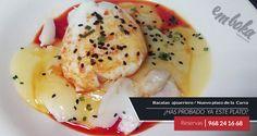 Hoy te presentamos NUEVO PLATO DE LA CARTA: BACALAO AJOARRIERO, se trata de bacalao confitado al pil pil, huevo poché y aceite aromatizado, Ven a probarlo a Emboka by Simmons, en la Flota, Reservas 968241668