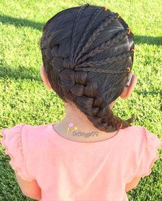 Diagonal French braid with accent microbraids  #pr3ttyhairstyles #braidsforlittlegirls