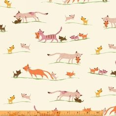 Heather Ross - Tiger Lily Lawn - Marching Cats Lawn in Cream