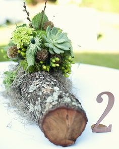 Creative Wedding Table Decoration- fresh log with mossy detail and greens with succulent detail - Rustic Wedding Gowns, Floral Wedding, Wedding Flowers, Wedding Table Decorations, Decoration Table, Outdoor Wedding Inspiration, Wedding Ideas, Deco Nature, Floral Arrangements