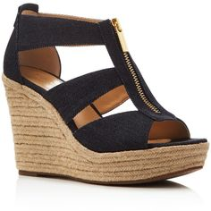 379459a93c55 Michael Michael Kors Damita Denim Cutout Espadrille Wedge Sandals ( 105) ❤  liked on Polyvore featuring shoes