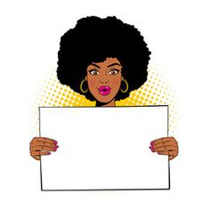 Young sexy surprised african american woman with open mouth holding blank board for your text. Vector illustration in retro comic pop art style isolated on white background. Pop Art Women, Black Women Art, Pop Art Girl, Black Girl Art, Pop Art Wallpaper, Invitation Background, Black Cartoon, Retro Pop, African American Women