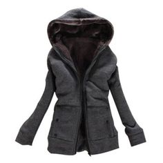 Laconic Hooded Zipper Design Solid Color Long Sleeve Thicken Slimming Fleece Women's Coat, DEEP GRAY, ONE SIZE in Jackets & Coats | DressLily.com
