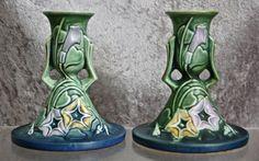Roseville Pottery Morning Glory Candlesticks Green, Hard To Find! Vintage Pottery, Pottery Art, Roseville Pottery, Ruby Lane, Makers Mark, Ceramic Art, Decorative Bells, Candlesticks, Glass Art