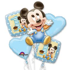 """What a great value! Our Mickey's 1st Birthday Bouquet of Balloons pack features a 30"""" tall SuperShape Baby Mickey Mouse foil balloon, two 18"""" square Mickey's 1st Birthday foil balloons, and two 18"""" baby blue foil heart-shaped balloons.  Plus, 5 white ribbons are included too!  It's a complete package!"""