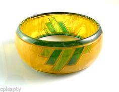 RARE Vintage 1930s Art Deco Geometric Marbled Transparent BAKELITE Bracelet