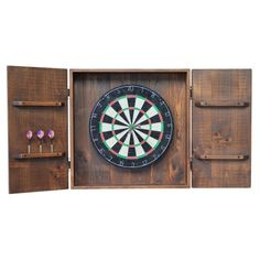 Pub-inspired Dart Board Cabinet is beautifully handcrafted from natural pine and iron. Display your favorite dart board. Dartboard and darts are not included. Wine Barrel Furniture, Log Furniture, Furniture Cleaning, Furniture Movers, Kitchen Furniture, Custom Dart Board, Rustic Games, Log Decor, Furniture