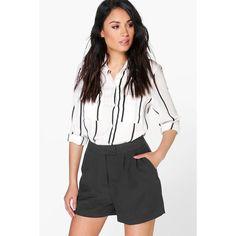 Boohoo Emily Smart Woven Shorts (€23) ❤ liked on Polyvore featuring shorts, black, culottes shorts, mini shorts, hot denim shorts, sequin shorts and hot pants