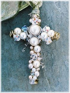 3 inch beaded wire Wall or pendant Cross inspiration