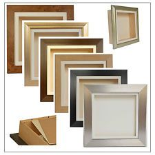 """3D 12/""""x10/"""" Beech Picture Shadow Box Frame Cast Memorabilia with 3 Window Display"""