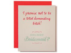 Will you be my Bridesmaid by Ladyfingers Letterpress