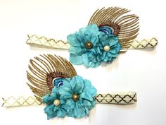 Boho Headband-Flower Headband-Feather by TheJeweledFeather on Etsy