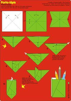 Origami de Porta-lápis - diagrama