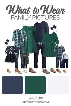 What to Wear for Family Pictures: Navy and Teal Green Ideas for Family Photos Teal Green and Navy make up this picture perfect family look for a fall or winter family photo. This link has 8 different options for what to wear for family Fall Family Picture Outfits, Winter Family Pictures, Family Christmas Outfits, Family Pictures What To Wear, Christmas Pictures Outfits, Family Picture Colors, Family Portrait Outfits, Summer Family Photos, Family Pics