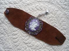 Leather Cuff Wide Bracelet Cameo Pendant Fairy by LandofBridget