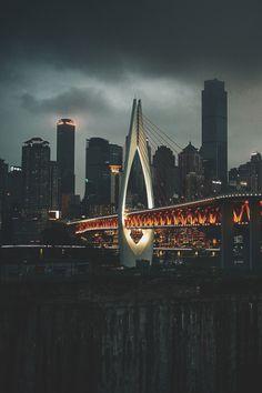 Bridge of Jialing River, Downtown Chongqing, China (Peter Hu) Ouvrages D'art, Asia City, Chongqing China, Bridge Design, China Travel, Covered Bridges, City Lights, Night Lights, Amazing Architecture