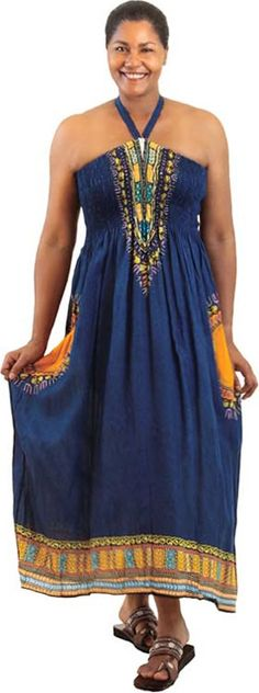 Tube Top Long African Inspired Sundress in Navy #Fashion #Clothes #WomensFashion #Ethnic #Style