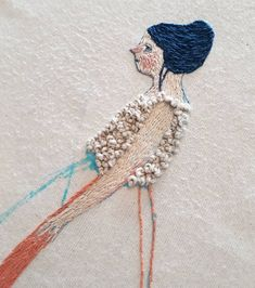Wip embroidery in progress Unfortunately I was over enthusiastic rubbing off the pen surrounding her and the fabric has gone all bobbly..so…