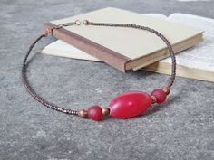 Boho Chic Necklace Elegant African Jewelry - Resin Recycled Glass Ethiopian Copper & Miyuki Seed Beads - Red Brown Ethnic Boho Jewelry