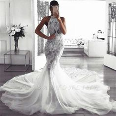 Babyonlinewholesale custom made this cheap mermaid sleeveless halter wedding dress, we sell dresses online all over the world. Also, extra discount are offered to our customers. We will try our best to satisfy everyone and make the dress fit you well. Beautiful Wedding Gowns, Dream Wedding Dresses, Bridal Dresses, Beautiful Dresses, Bridesmaid Dresses, Prom Dresses, Evening Dresses, Halter Wedding Dresses, Wedding Dresses Tight Fitted