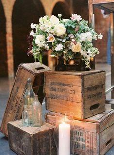 rustic vintage wooden boxes decor