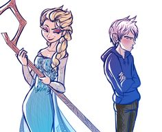 "Now I've got this head canon where Rapunzel takes the other members of the Big Four to meet her cousins Elsa and Anna and Jack and Elsa get  into an argument about who is more powerful.  ""You need a STAFF to control the winter?"