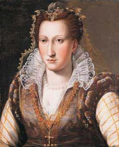 Lady, probably Bianca Capello, by Bronzino                   If it weren't for other portraits, one could conclude that Bianca Capello de Medici is wearing a 1980s style vest. Where's that time traveling deLorean when you need it?    Her vest-like bodice looks like something from the 1980s, but with a ruffed partlet and gorgeous sleeves emerging from it. She wears a graceful attifet headdress, a headdress coming to a point over the forehead often worn in black by widows. Her ruff and collar…