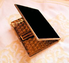 Cigarette Case, 1940's Black and Gold Metal, Great Business Card Case too! at MisterBibs Vintage