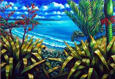 A New Zealand coastal painting and three European landscapes by Caz Novak are available as limited edition prints. Nz Art, Art For Art Sake, Maori Designs, New Zealand Art, Landscape Paintings, Landscapes, Abstract Paintings, Les Cascades, Kiwiana