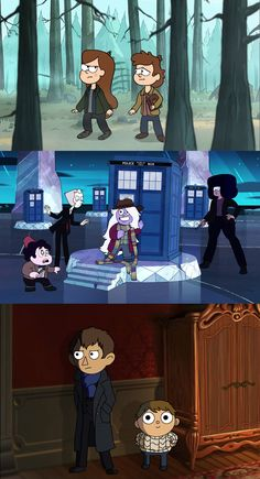 Gravity Falls/Supernatural, Steven Universe/Doctor Who, Over the Garden Wall/Sherlock