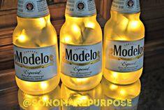 Modelo Especial Beer Bottle Light  3 Pack Frosted Glass Yellow lights Bar Light, Modelo Beer Lamp, Modelo Light, Modelo Beer Light, Modelo Beer Bottle Lights, Lighted Wine Bottles, Modelo Light, Modelo Beer, Sonoma County California, Small Plastic Bags, Black Vase, Beer Signs, Light Beer