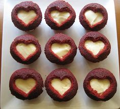 Red velvet cut-out heart cupcakes. I swear I'm going to host a cupcake-baking day just so I can play with these recipes..