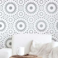 Moroccan stencils and Tile patterns for walls and floors. Our Wall stencils and Tile stencil patterns offer complete customization of your space on a budget! Stencils are so much better than trying to install wallpaper, or re-tile a floor! Stencil Patterns, Floor Patterns, Stencil Designs, Wall Patterns, Stencil Diy, Stencil Painting, Tile Stencils, Ceiling Painting, Moroccan Stencil