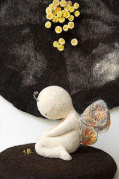 Waiting for the spring by Irina Andreeva, via Behance Felt Fabric, Fabric Dolls, Fabric Art, Wet Felting, Needle Felting, Art Du Monde, 3d Figures, Felt Gifts, Felting Tutorials
