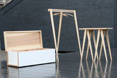 Collection EQUUS is a minimalist furniture collection designed by Latvia-based designer Armands Gr? The designer's ideology toward furnit. Minimalist Furniture, Minimalist Living, Minimalist Decor, Minimalist Design, Bench Furniture, Unique Furniture, Furniture Design, Plywood Furniture, Table Shelves