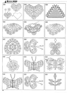 a TON of crochet pattern diagrams - and I mean page after page. Round motifs, square ones, triangles, edgings, lace - on and on and on.previous pinners words jj by tamekaover 1400 crochet charts - not very good image quality :(more than 1400 crochets Crochet Diy, Crochet Vintage, Crochet Amigurumi, Thread Crochet, Love Crochet, Irish Crochet, Crochet Doilies, Crochet Ideas, Crochet Gratis