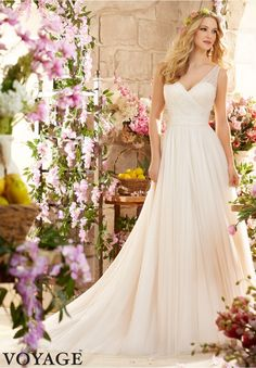 Wedding Dresses By Voyage featuring Soft Net Colors Available: White, Ivory, Champagne