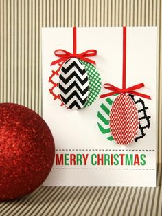 The holiday experts at share instructions for creating a chic, modern handmade holiday ornament card. Noel Christmas, Christmas Greeting Cards, Homemade Christmas, Christmas Greetings, Christmas Ornaments, Paper Ornaments, Simple Christmas, Christmas Gift Decorations, Holiday Crafts