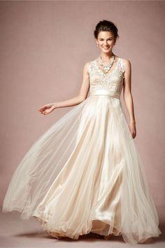 BHLDN Catherine Deane Onyx Dress in Champagne