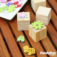 Stamp It Out: Make your own custom stamps with adhesive-backed craft foam shapes and small wooden blocks (either plain ones from a craft store or repurposed toy blocks). Just pick a shape, stack two of them so that they align (doubled-up shapes produce a cleaner stamp mark), and adhere the stack to a block.