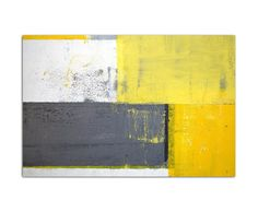 120 x 80 CM Wall Painting Malkunst Grey / Yellow Abstract Picture on Canvas on Stretcher Frame modern Stylish pictures and ornaments by Augenblicke Wandbilder