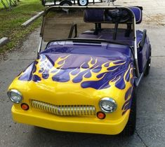Customized Purple Golf Cart w/Yellow Flames~