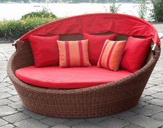 #Outdoor #Wicker #Daybed   Your dream wicker lounge has arrived! Available at Wicker Paradise with your choice of outstanding #sunbrella fabrics for a fun experience for all to enjoy. www.wickerparadise.com