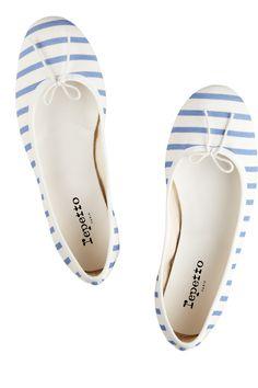 Repetto|BB striped jersey ballet flats|NET-A-PORTER.COM