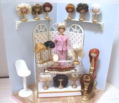 How to make your own doll wig stand and shop front-Doll Divas - Diorama Portfolio