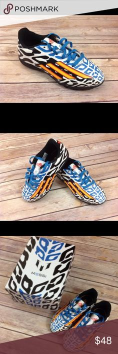 Soccer Cleats Adidas Messi NWT 13  Blue Orange Soccer Cleats Adidas Messi NWT 13     Adidas Messi soccer cleats size 13 item is new in the box. Color is blue with orange and black pattern on white.  Believe these are indoor style. adidas Shoes