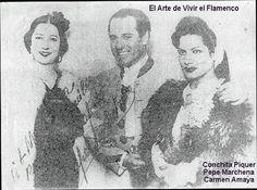 Carmen con Conchita Piquer y Pepe Marchena.